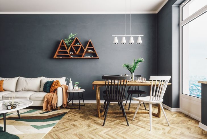 Scandinavian style living and dining room.
