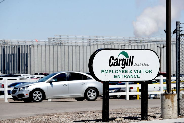 FORT MORGAN, CO - APRIL 17: The Cargill meatpacking plant remains in operation after scaling production after as many as 18 employees have contracted the coronavirus (COVID-19) virus on April 17, 2020 in Fort Morgan, Colorado. Meatpacking plants are altering their production as outbreaks of the virus have been reported at the factories in Colorado, South Dakota, and Iowa