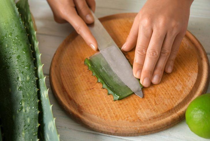 Aloe Vera gel moisturizes lips