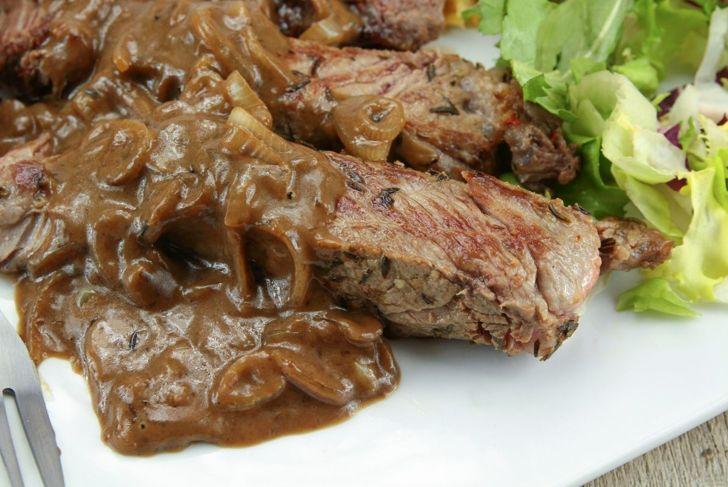 Shallot sauce on steak