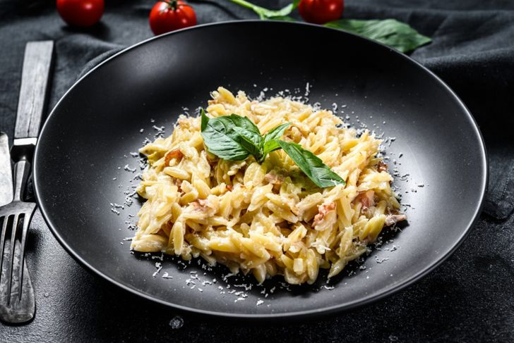 orzo in creamy bacon sauce