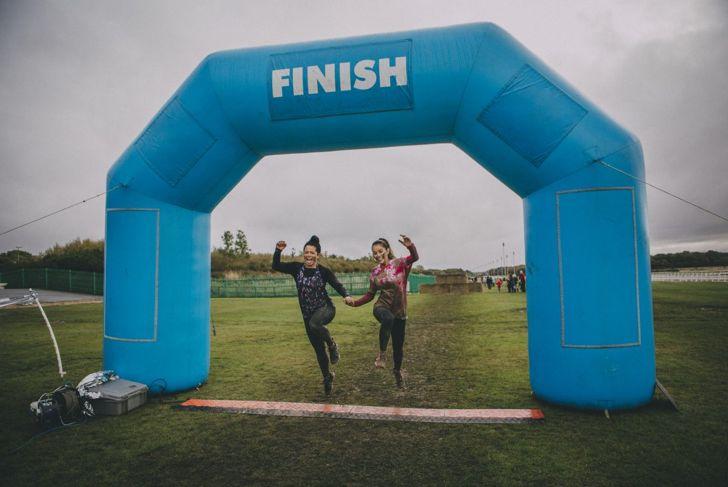Women finishing a race