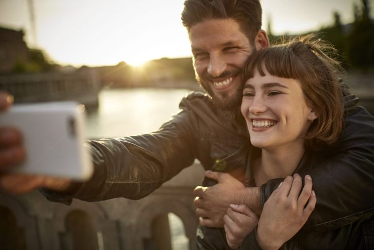 cute couple taking photo