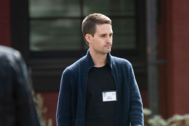 SUN VALLEY, ID - JULY 10: Evan Spiegel, chief executive officer of Snap Inc., attends the annual Allen & Company Sun Valley Conference, July 10, 2019 in Sun Valley, Idaho. Every July, some of the world's most wealthy and powerful businesspeople from the media, finance, and technology spheres converge at the Sun Valley Resort for the exclusive weeklong conference.
