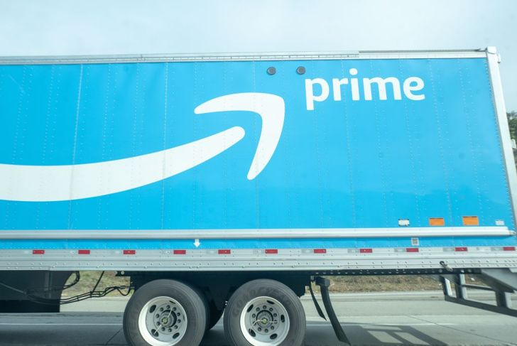 View of rear section of Amazon Prime semi truck, delivering packages for ecommerce company Amazon, on the 680 Freeway in Sunol, California, December 12, 2019.
