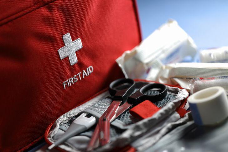 First aid articles closeup