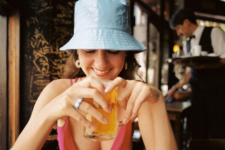 Female Tourist in Bar, San Telmo, Buenos Aires, Argentina