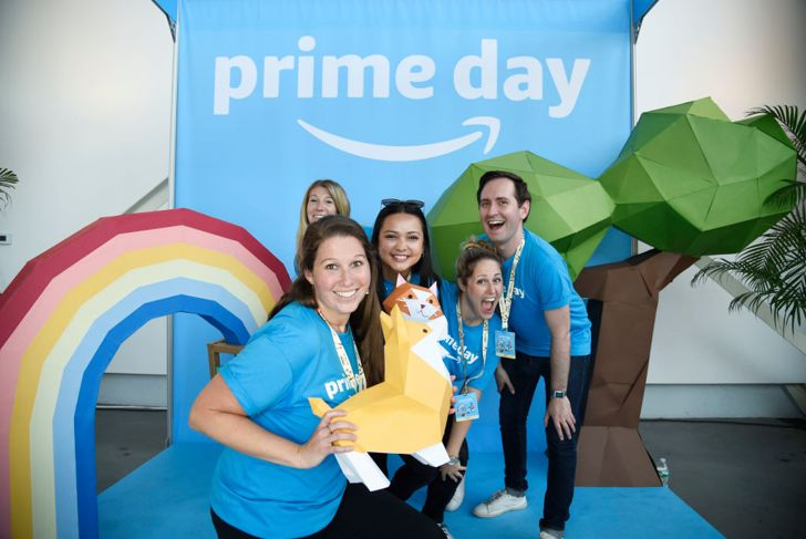 BROOKLYN, NY - JULY 11: Guests pose during the Amazon Music Unboxing Prime Day event on July 11, 2018 in Brooklyn, New York.