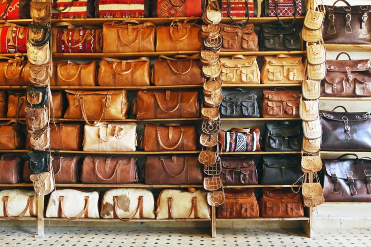 leather bags and purses close-up
