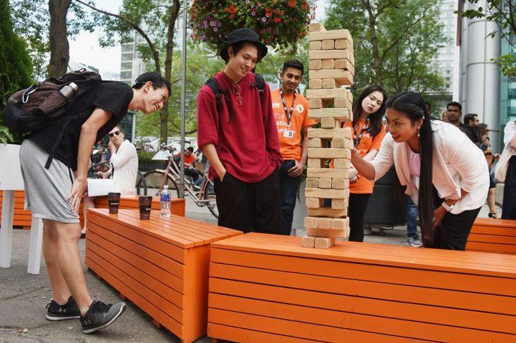 giant jenga tower wooden blocks