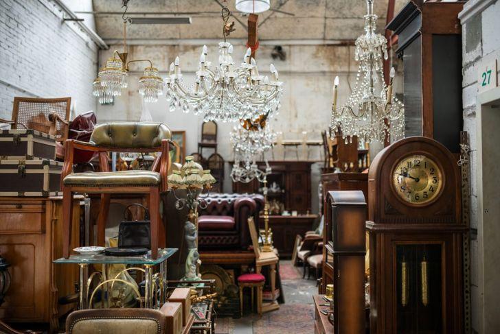 Shops at vintage markets