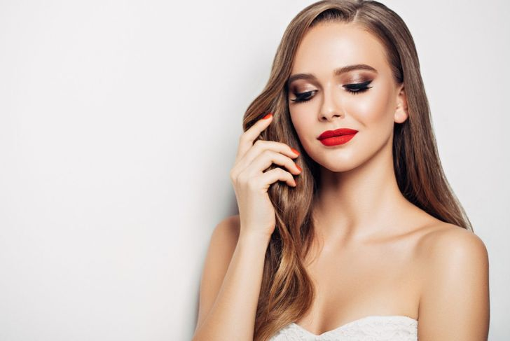Festive red lipstick Christmas party makeup