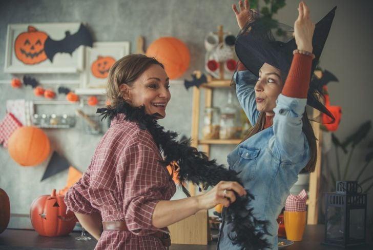 halloween party dancing women