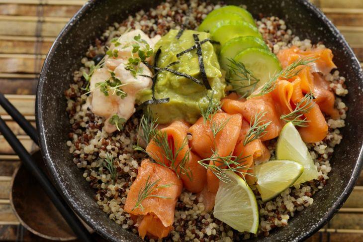 Salmon guacamole bowl