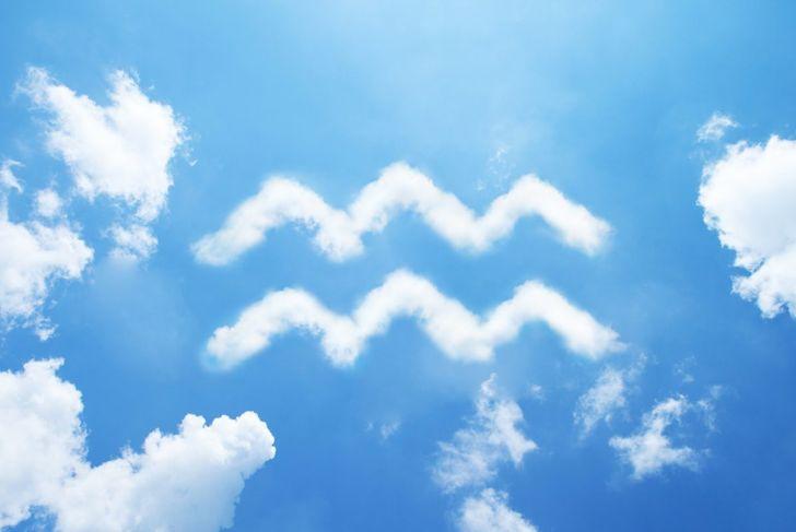 Aquarius sign in clouds
