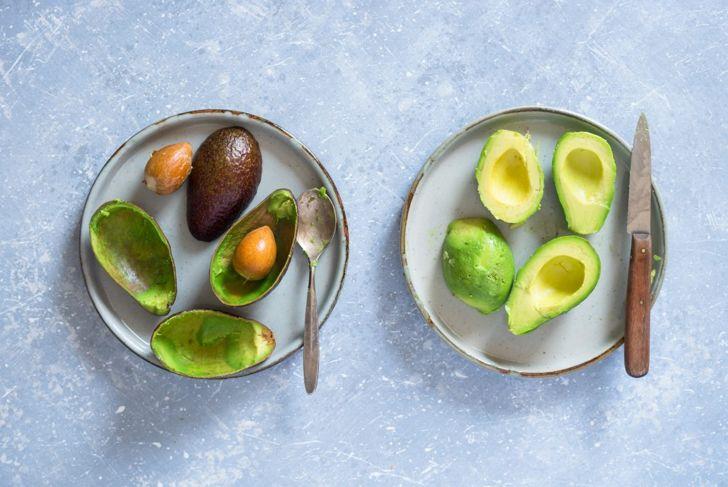 Peeled and seedless avocado