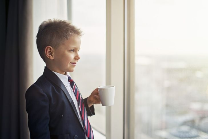 boy suit business coffee