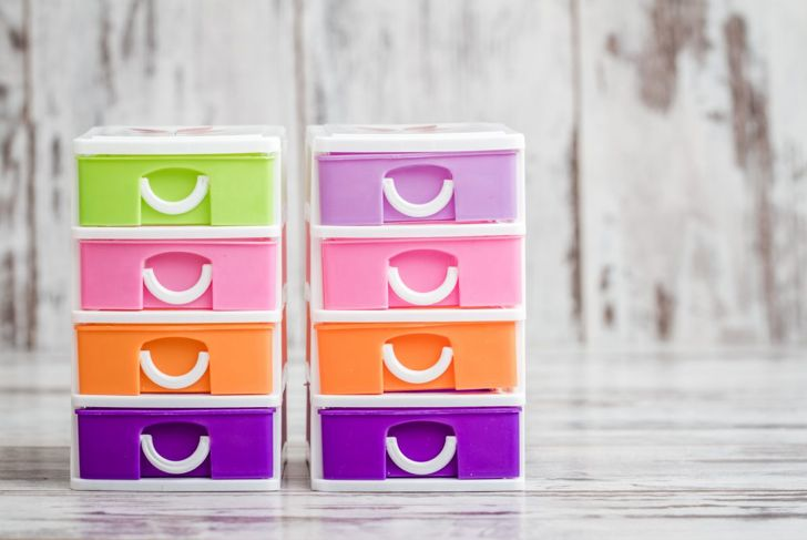 Small, Cute and Colorful Plastic Drawers on White