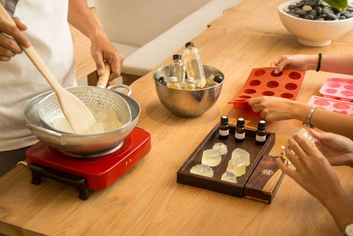 Handmade soap workshop, making organic natural cosmetic