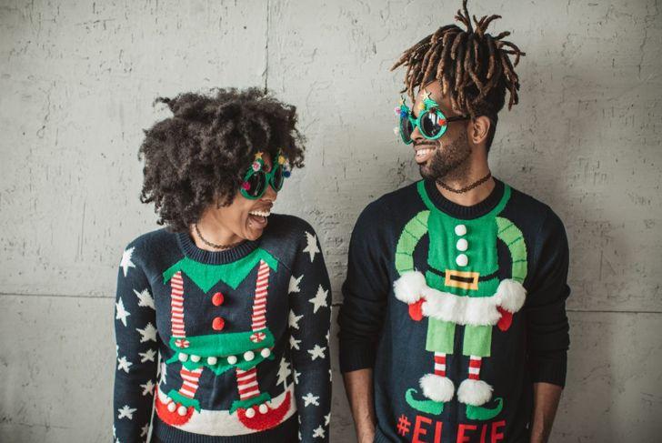 couple elf ugly sweater