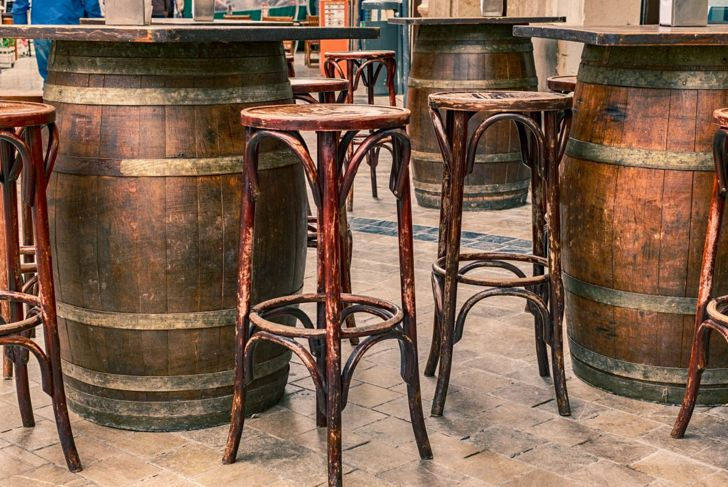 cocktail table metal wood barrels