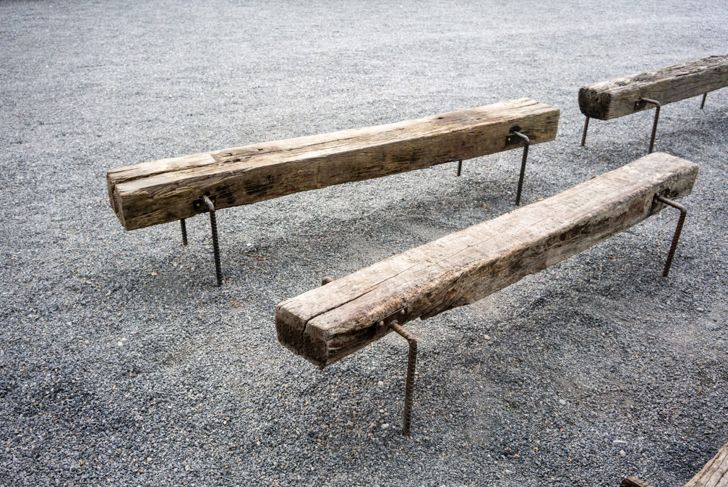 Minimalist benches have clean lines