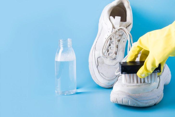 Bleaching White Sneakers Scrub Brush