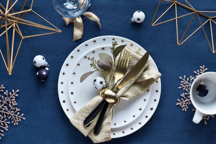 A festive bow tie napkin fold