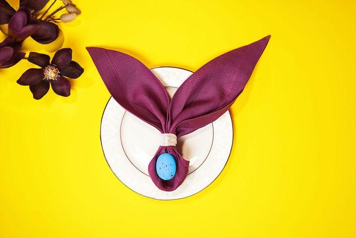 A simple bunny napkin fold