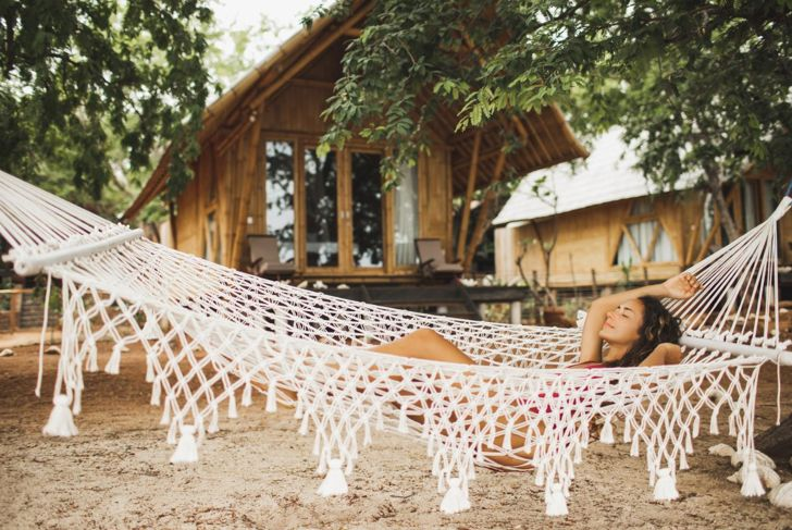 handmade outdoor woven macrame hammock