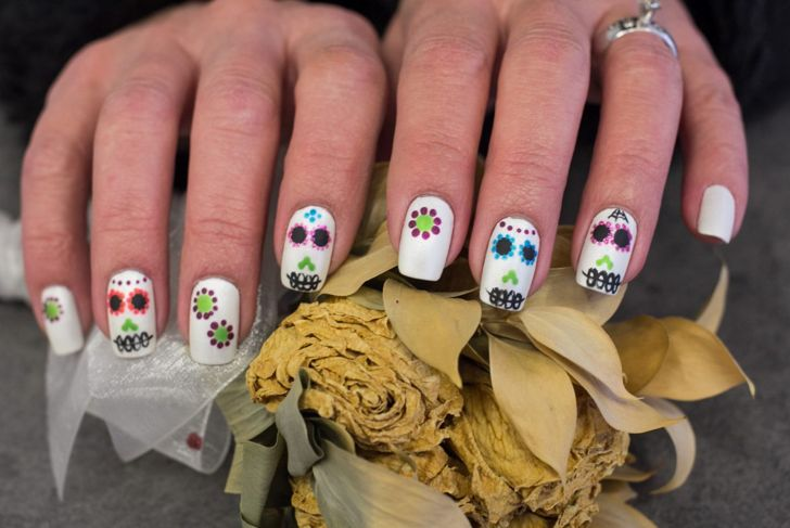 halloween nails day of the dead sugar skull nail art