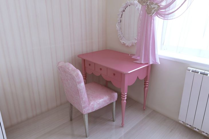 Pink dressing table and chair