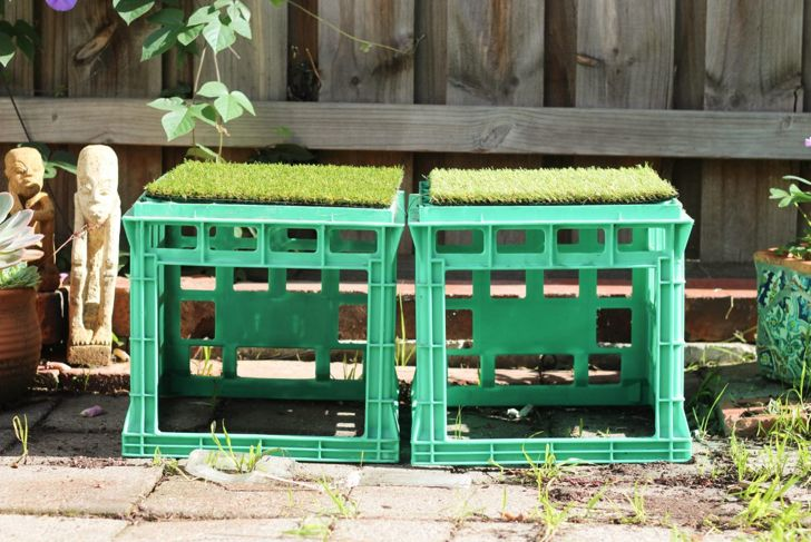 DIY stools milk crates