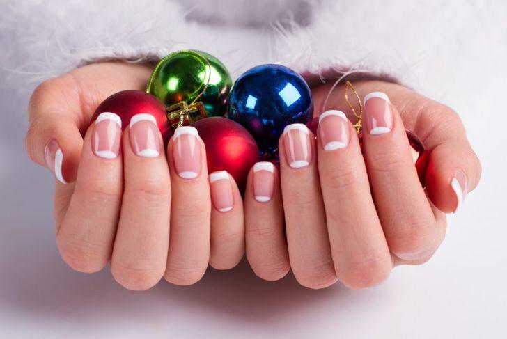 Christmas nails french polish
