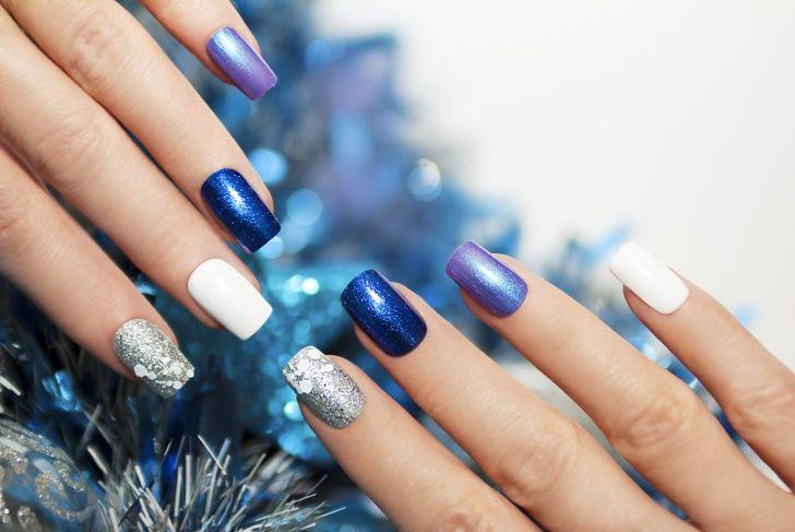 Icy blue and purple nail polish
