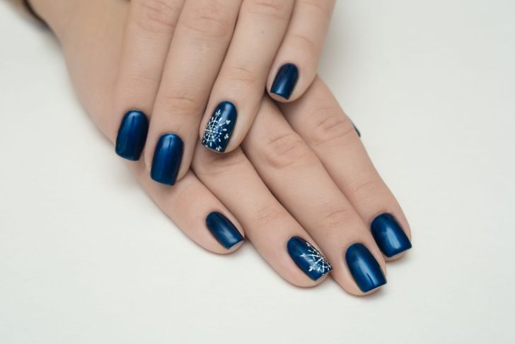 Navy blue with snowflakes