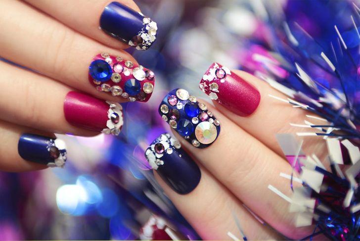Embellishments gems Christmas nails