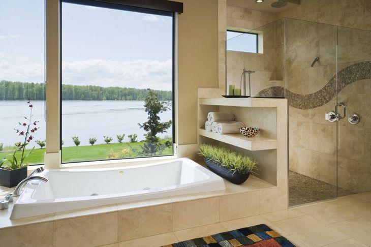 Bathroom with large windows