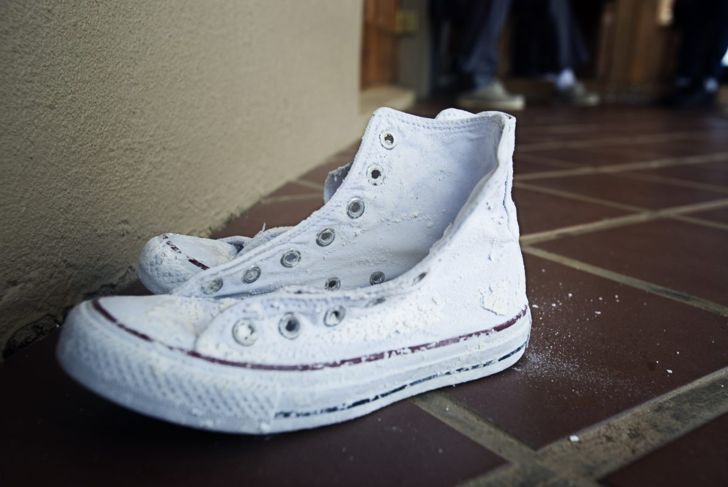 White Sneakers Baking Soda Cleaning