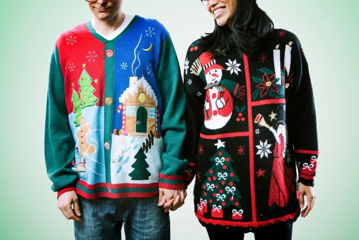 couple busy ugly sweaters