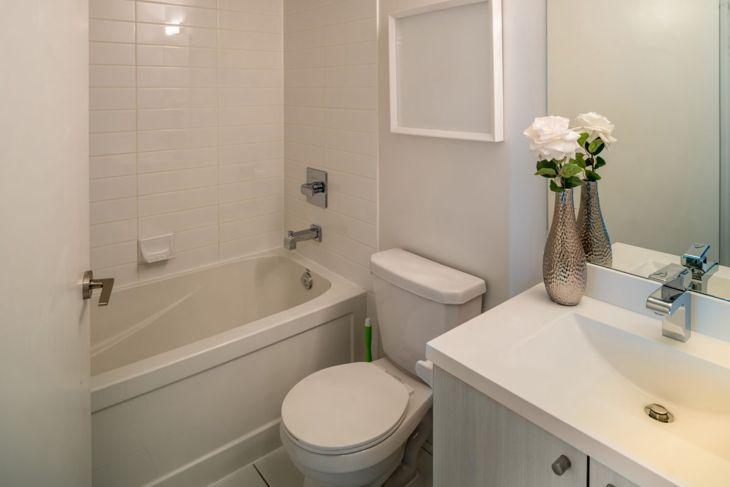 Shower in small bathroom corner