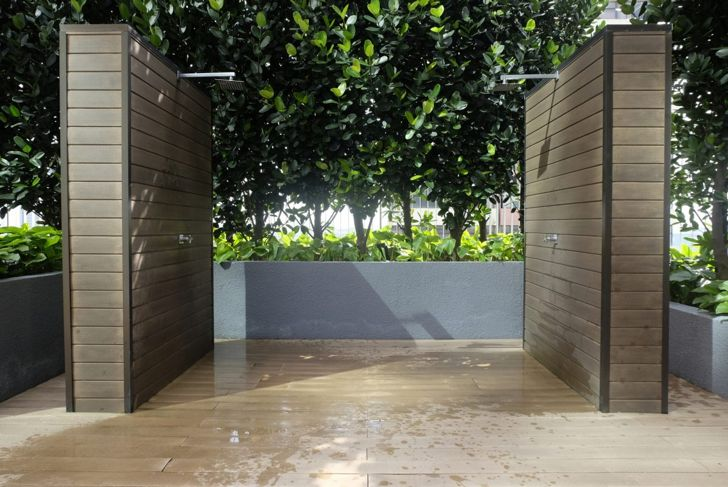 Poolside outdoor shower