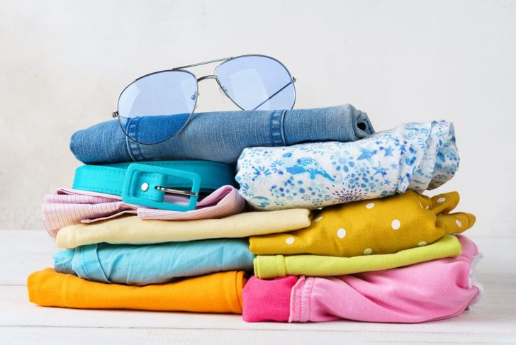 A stack of summer clothes