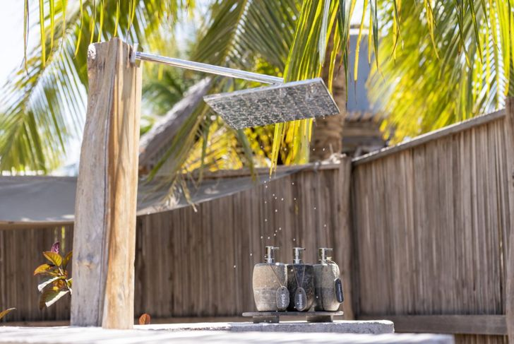 Tropical beach style outdoor shower