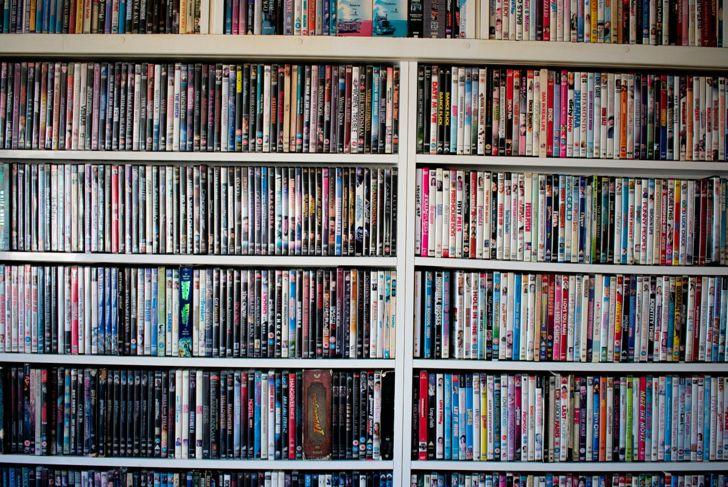 Shelves full of DVD movies