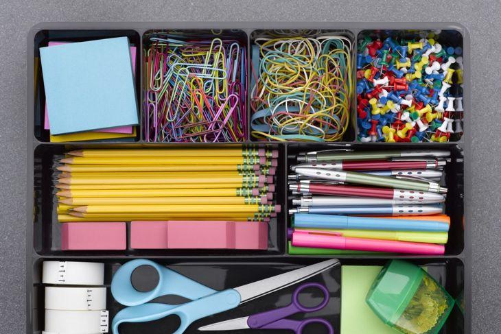 office supplies, organized