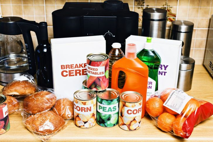 Off-brand groceries sitting on a counter