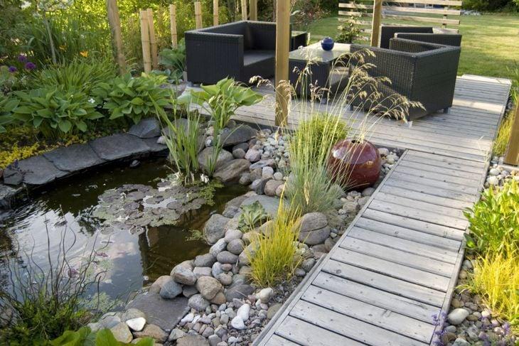 A serene wooden walking deck