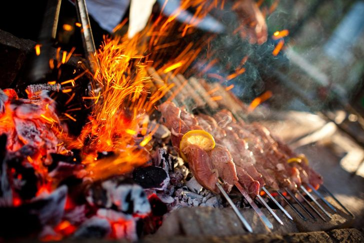 Barbecue with meat