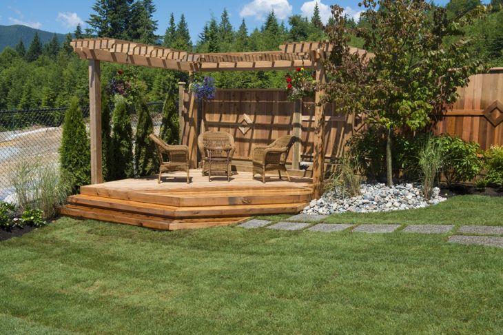 A wooden deck and pergola